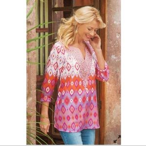 Soft Surroundings Cinnabar Tunic Blouse Top S